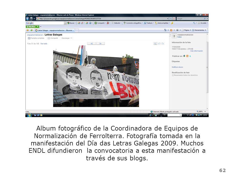 62 Album fotográfico de la Coordinadora de Equipos de Normalización de Ferrolterra. Fotografía tomada en la manifestación del Día das Letras Galegas 2