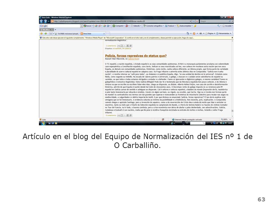 63 Artículo en el blog del Equipo de Normalización del IES nº 1 de O Carballiño.