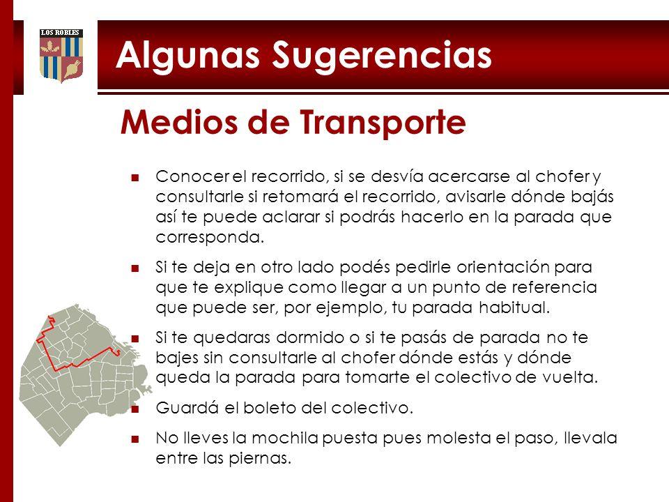 Algunas Sugerencias Medios de Transporte Conocer el recorrido, si se desvía acercarse al chofer y consultarle si retomará el recorrido, avisarle dónde