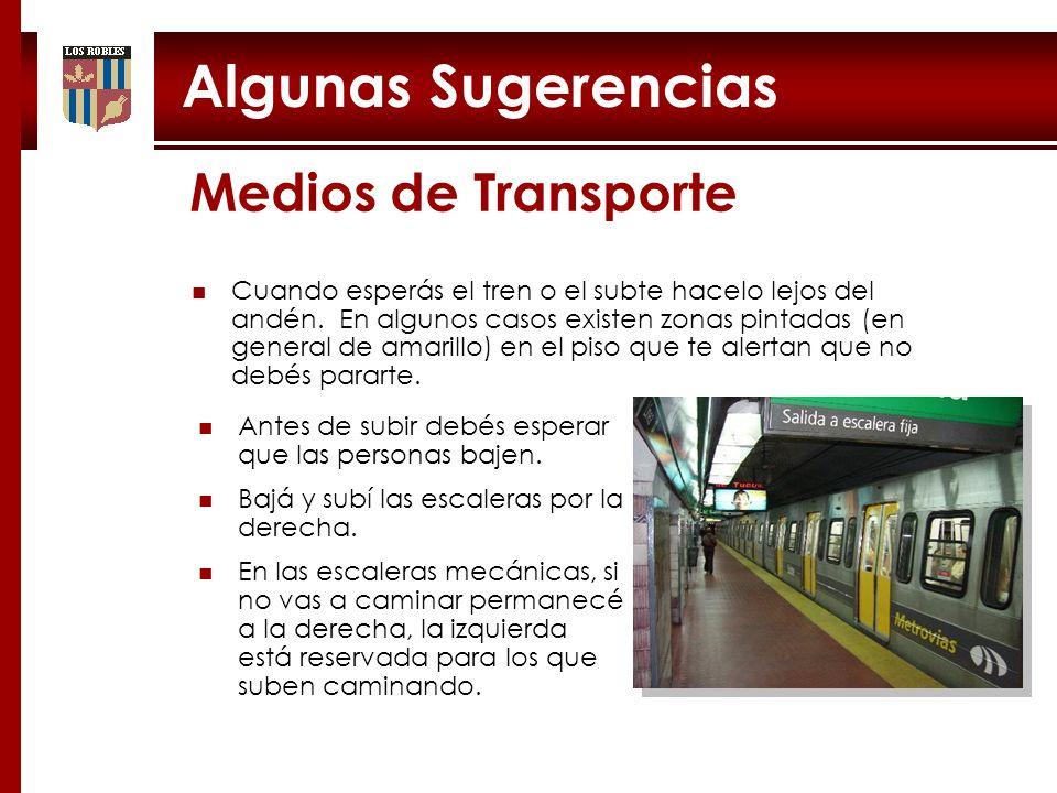 Algunas Sugerencias Cuando esperás el tren o el subte hacelo lejos del andén. En algunos casos existen zonas pintadas (en general de amarillo) en el p