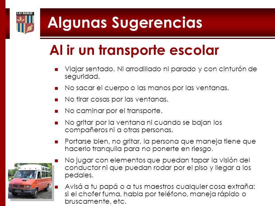 Algunas Sugerencias 24 Al ir un transporte escolar Viajar sentado. Ni arrodillado ni parado y con cinturón de seguridad. No sacar el cuerpo o las mano