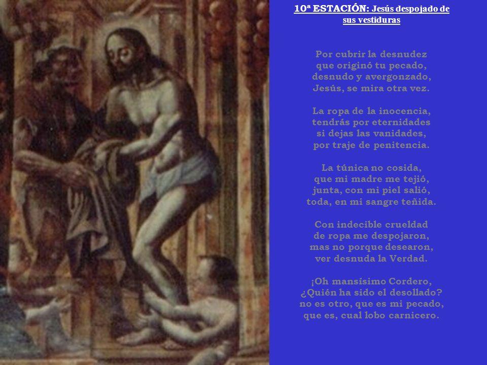 9ª ESTACIÓN: Jesús cae por tercera vez Pecador, mira advertido, que llevando tu pecado de muerte, a Dios ha pesado, que tres veces ha caído.