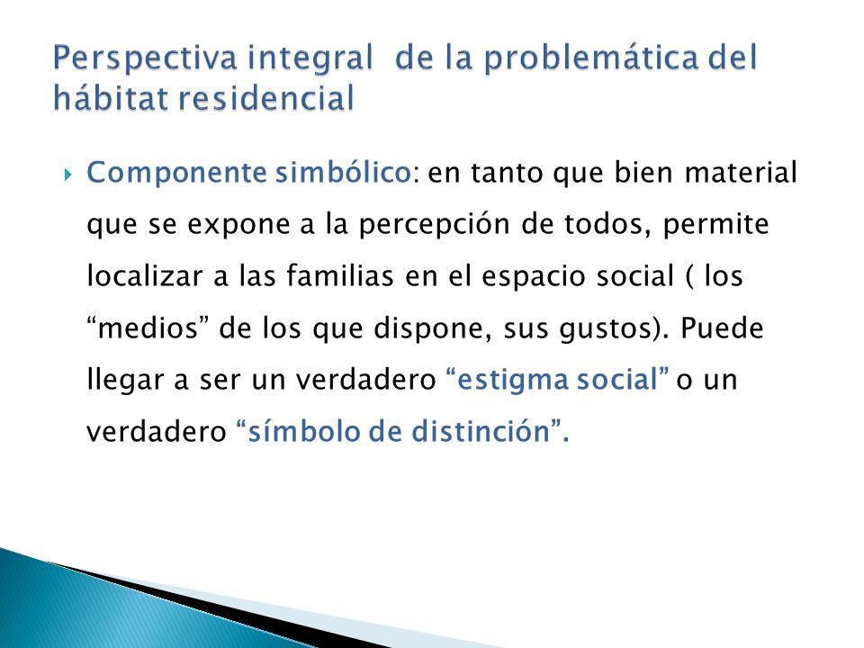 Componente simbólico: en tanto que bien material que se expone a la percepción de todos, permite localizar a las familias en el espacio social ( los medios de los que dispone, sus gustos).