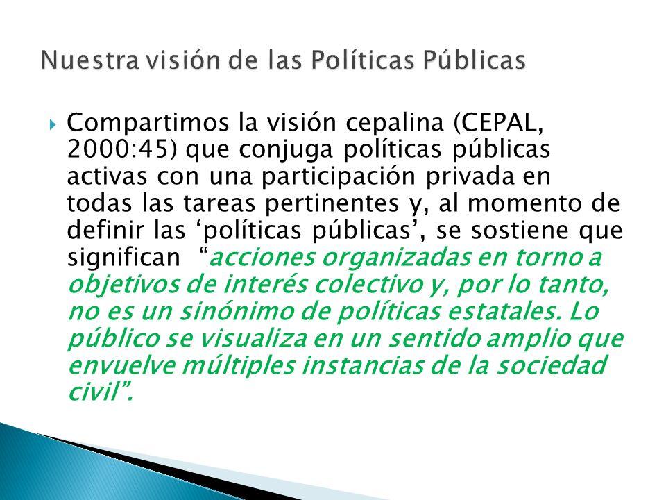 Compartimos la visión cepalina (CEPAL, 2000:45) que conjuga políticas públicas activas con una participación privada en todas las tareas pertinentes y, al momento de definir las políticas públicas, se sostiene que significan acciones organizadas en torno a objetivos de interés colectivo y, por lo tanto, no es un sinónimo de políticas estatales.