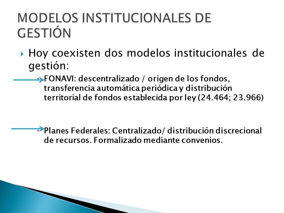 Hoy coexisten dos modelos institucionales de gestión: FONAVI: descentralizado / origen de los fondos, transferencia automática periódica y distribución territorial de fondos establecida por ley (24.464; 23.966) Planes Federales: Centralizado/ distribución discrecional de recursos.