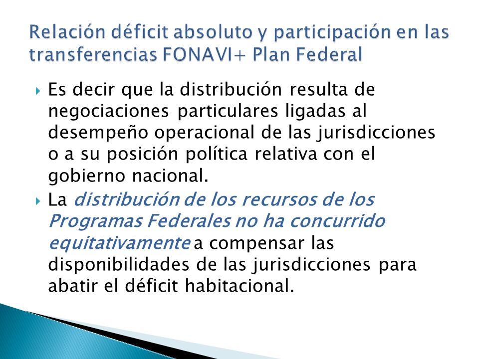 Es decir que la distribución resulta de negociaciones particulares ligadas al desempeño operacional de las jurisdicciones o a su posición política relativa con el gobierno nacional.