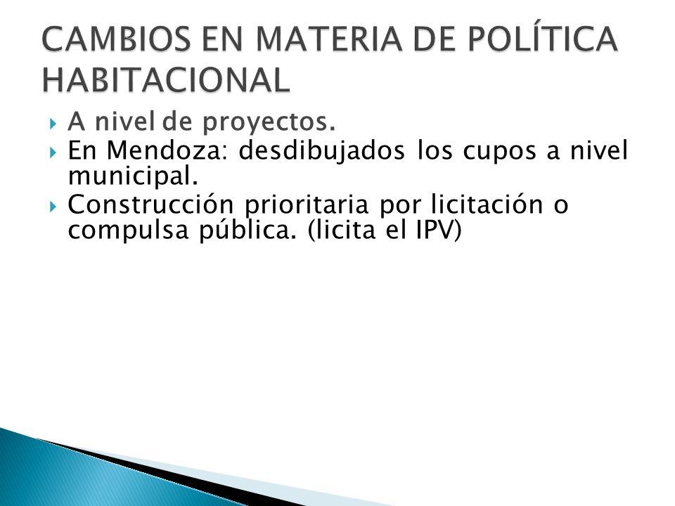 A nivel de proyectos. En Mendoza: desdibujados los cupos a nivel municipal.