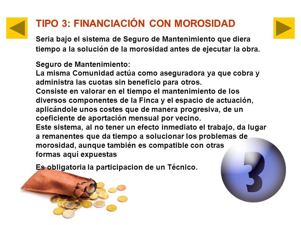 TIPO 3: FINANCIACIÓN CON MOROSIDAD Seria bajo el sistema de Seguro de Mantenimiento que diera tiempo a la solución de la morosidad antes de ejecutar l