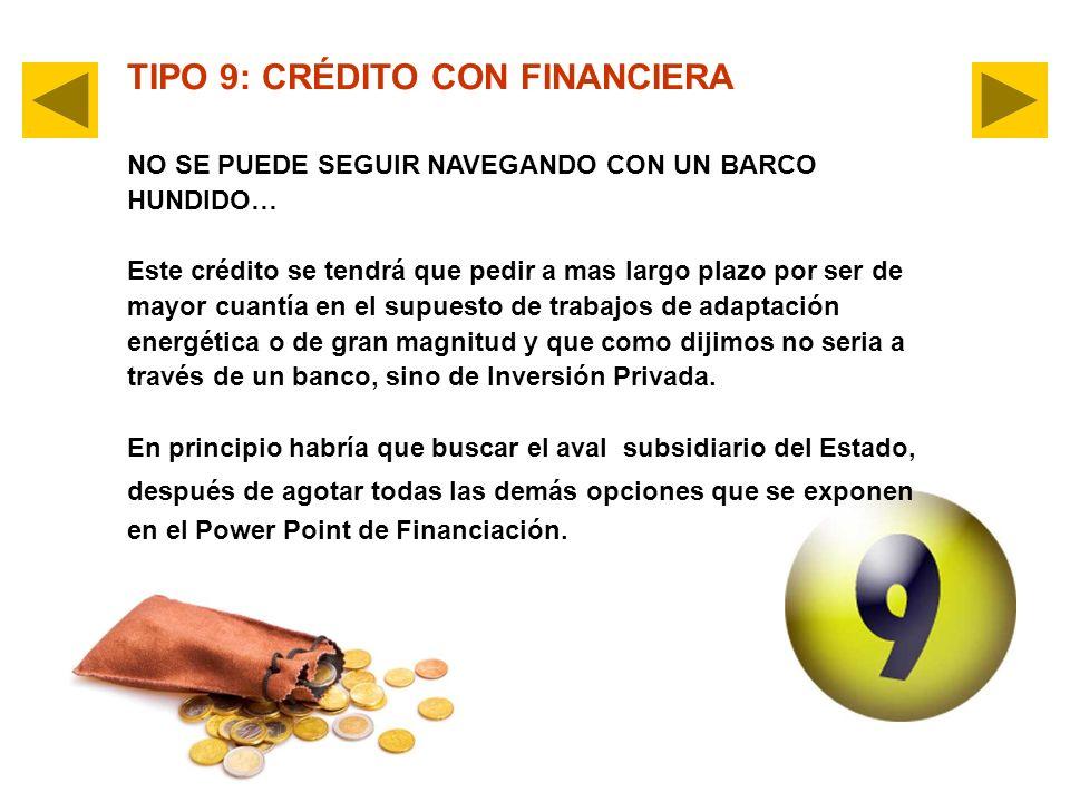 TIPO 9: CRÉDITO CON FINANCIERA NO SE PUEDE SEGUIR NAVEGANDO CON UN BARCO HUNDIDO… Este crédito se tendrá que pedir a mas largo plazo por ser de mayor