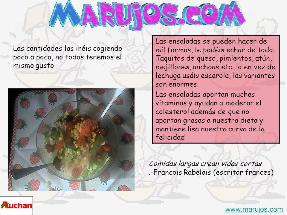 Añadimos la zanahoria, el apio y el maíz dulce a nuestro gusto, tampoco hay que pasarse www.marujos.com Por ultimo cortamos los tomatitos a la mitad y aliñamos con el aceite ( 4 cucharadas por una de vinagre + - ) un pellizco de sal y si te gusta un poco de pimienta