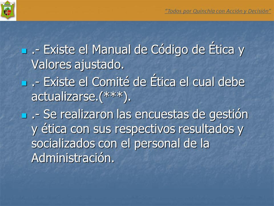 .- Existe el Manual de Código de Ética y Valores ajustado..- Existe el Manual de Código de Ética y Valores ajustado..- Existe el Comité de Ética el cu