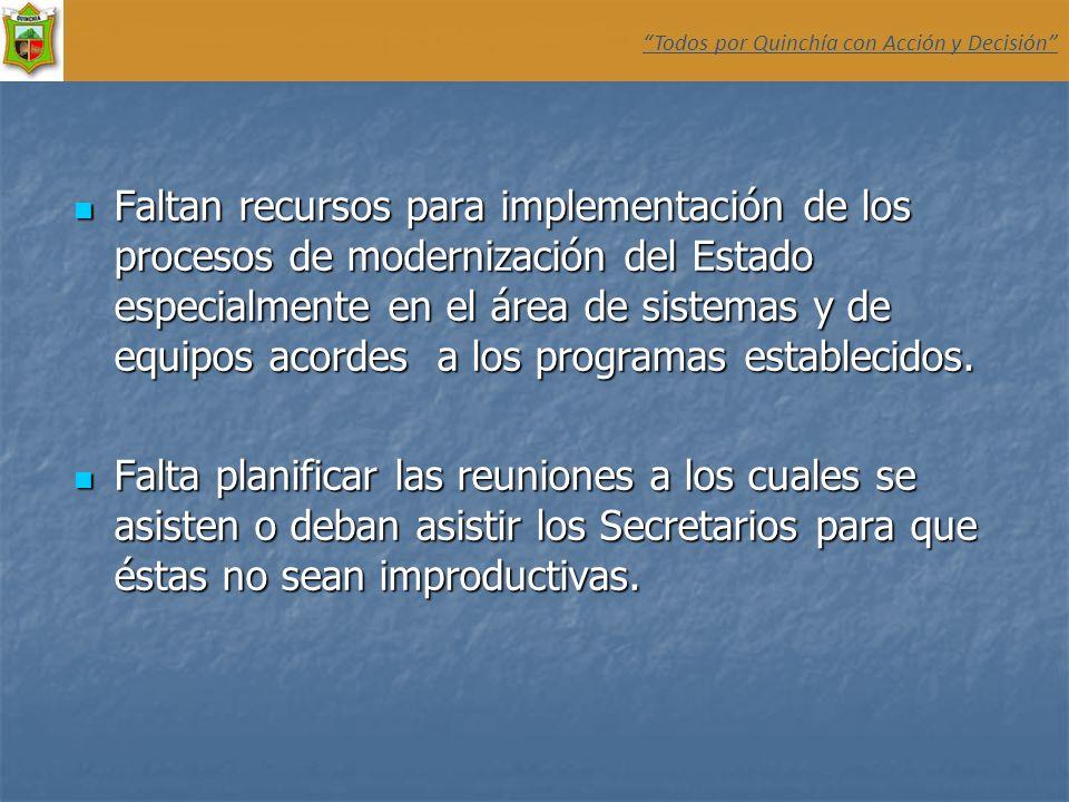 Faltan recursos para implementación de los procesos de modernización del Estado especialmente en el área de sistemas y de equipos acordes a los progra