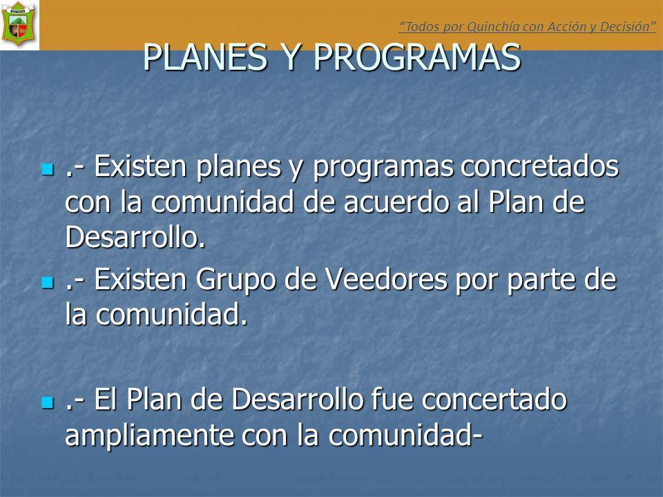 PLANES Y PROGRAMAS.- Existen planes y programas concretados con la comunidad de acuerdo al Plan de Desarrollo..- Existen planes y programas concretado