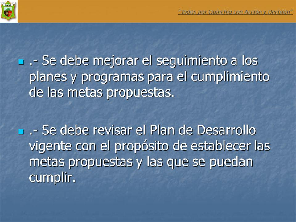 .- Se debe mejorar el seguimiento a los planes y programas para el cumplimiento de las metas propuestas..- Se debe mejorar el seguimiento a los planes
