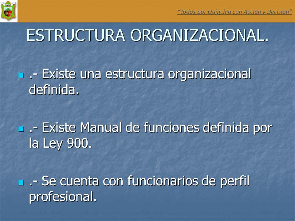 ESTRUCTURA ORGANIZACIONAL..- Existe una estructura organizacional definida..- Existe una estructura organizacional definida..- Existe Manual de funcio