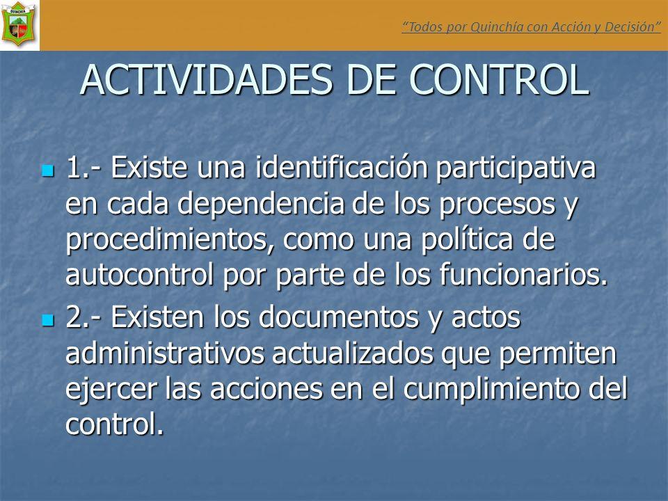 ACTIVIDADES DE CONTROL 1.- Existe una identificación participativa en cada dependencia de los procesos y procedimientos, como una política de autocont