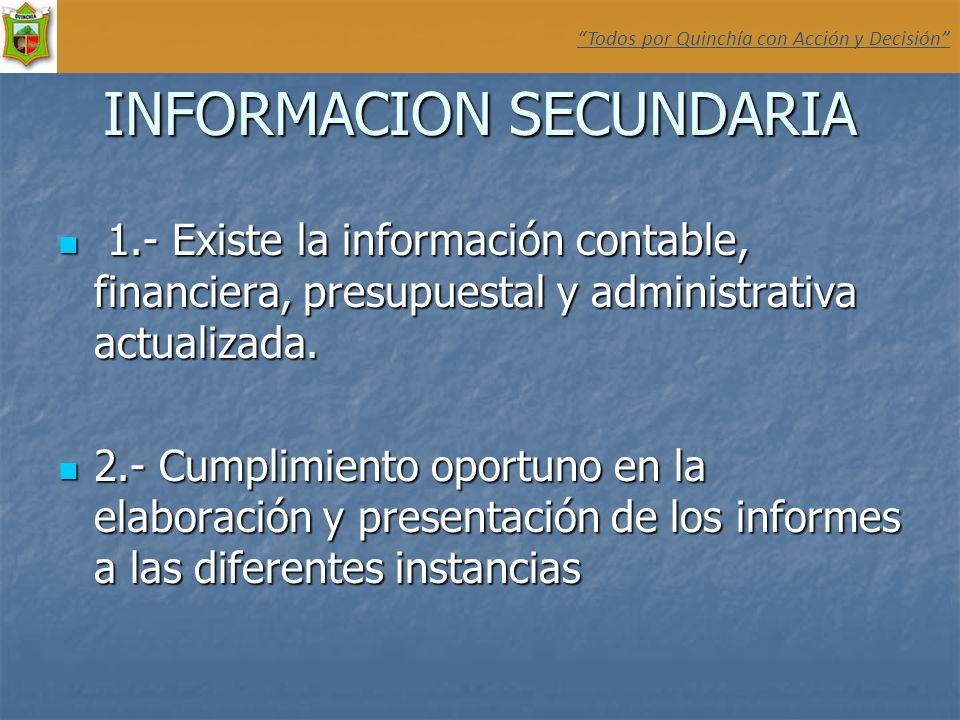 INFORMACION SECUNDARIA 1.- Existe la información contable, financiera, presupuestal y administrativa actualizada. 1.- Existe la información contable,