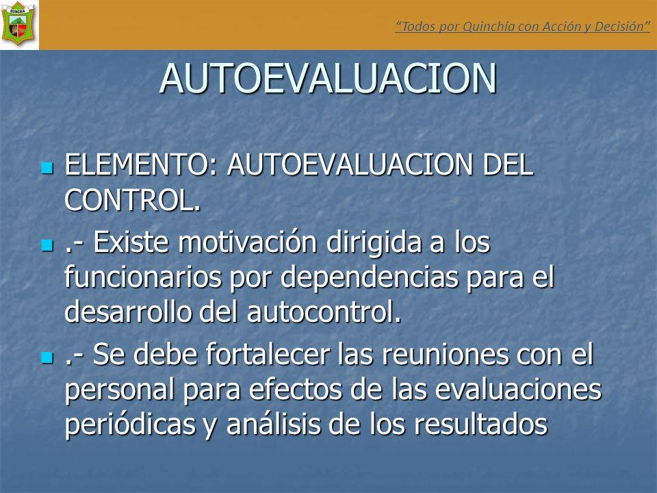 AUTOEVALUACION ELEMENTO: AUTOEVALUACION DEL CONTROL. ELEMENTO: AUTOEVALUACION DEL CONTROL..- Existe motivación dirigida a los funcionarios por depende