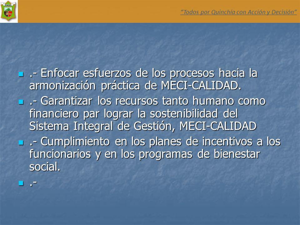 .- Enfocar esfuerzos de los procesos hacia la armonización práctica de MECI-CALIDAD..- Enfocar esfuerzos de los procesos hacia la armonización práctic