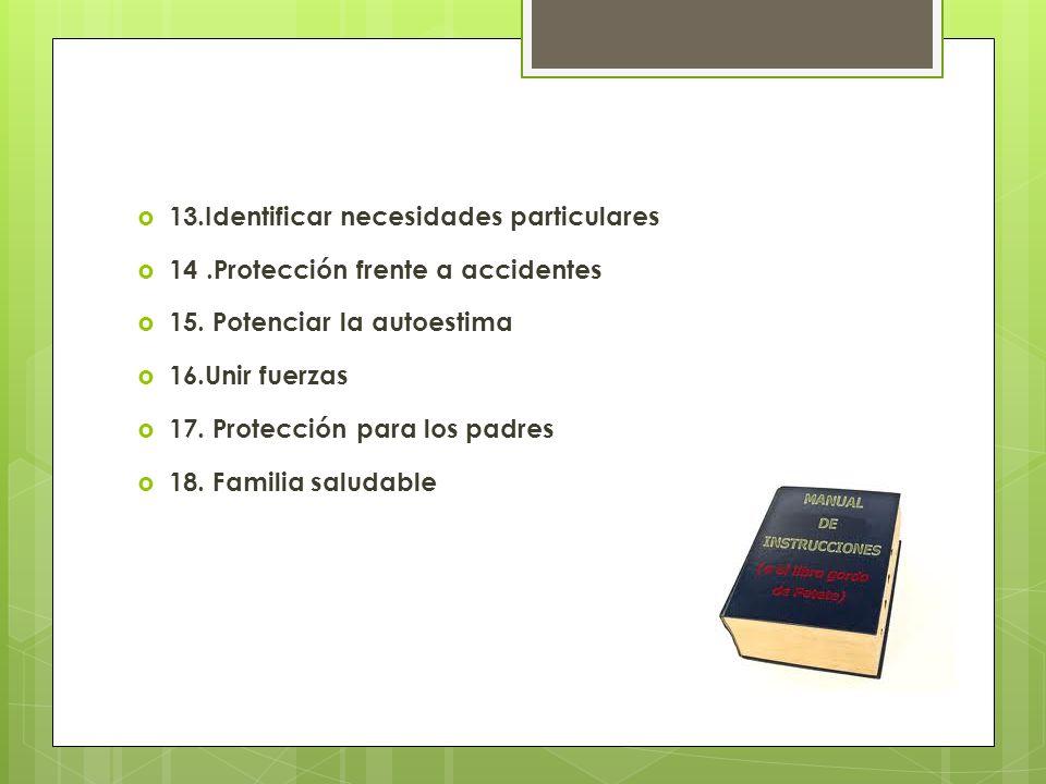 13.Identificar necesidades particulares 14.Protección frente a accidentes 15.