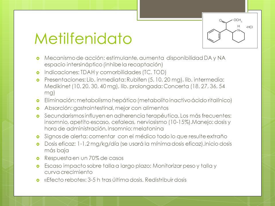 Metilfenidato Mecanismo de acción: estimulante, aumenta disponibilidad DA y NA espacio intersináptico (inhibe la recaptación) Indicaciones: TDAH y comorbilidades (TC, TOD) Presentaciones: Lib.
