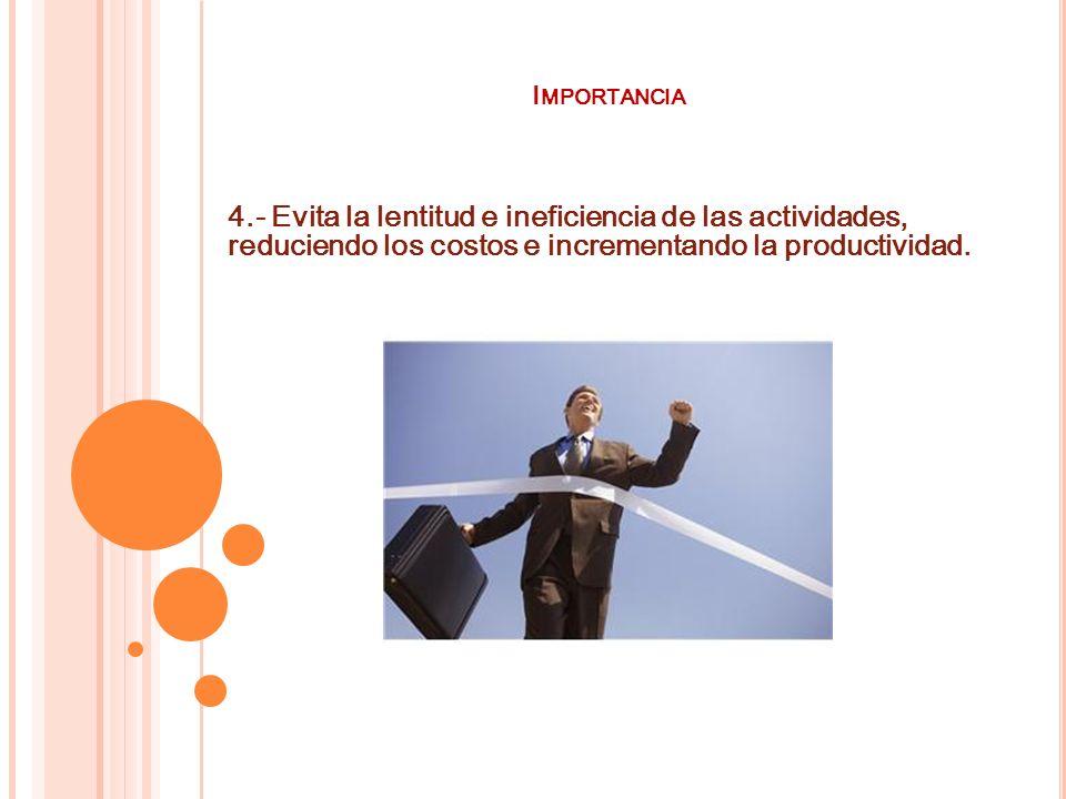 I MPORTANCIA 4.- Evita la lentitud e ineficiencia de las actividades, reduciendo los costos e incrementando la productividad.