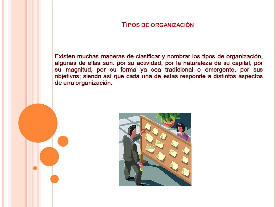 T IPOS DE ORGANIZACIÓN Existen muchas maneras de clasificar y nombrar los tipos de organización, algunas de ellas son: por su actividad, por la natura