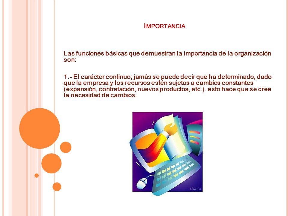 I MPORTANCIA Las funciones básicas que demuestran la importancia de la organización son: 1.- El carácter continuo; jamás se puede decir que ha determi