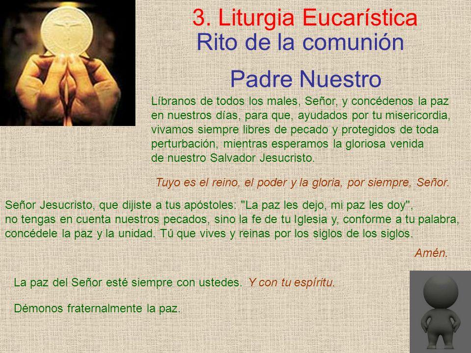 Rito de la comunión 3. Liturgia Eucarística Líbranos de todos los males, Señor, y concédenos la paz en nuestros días, para que, ayudados por tu miseri