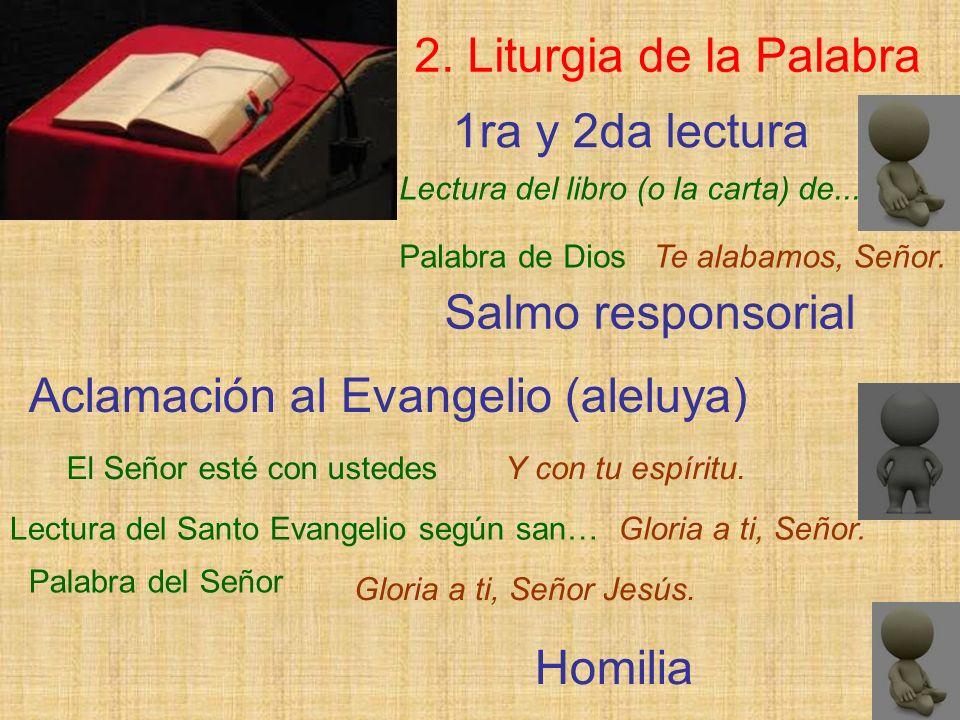 1ra y 2da lectura 2. Liturgia de la Palabra Lectura del libro (o la carta) de.... Y con tu espíritu. Aclamación al Evangelio (aleluya) Salmo responsor