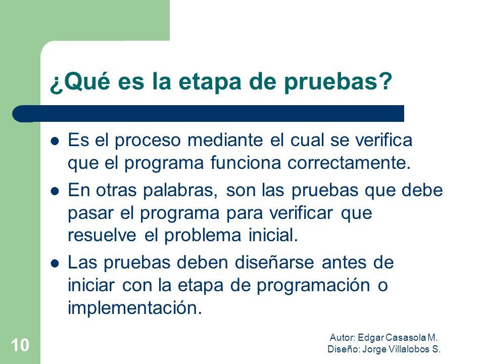 Autor: Edgar Casasola M. Diseño: Jorge Villalobos S. 10 ¿Qué es la etapa de pruebas? Es el proceso mediante el cual se verifica que el programa funcio