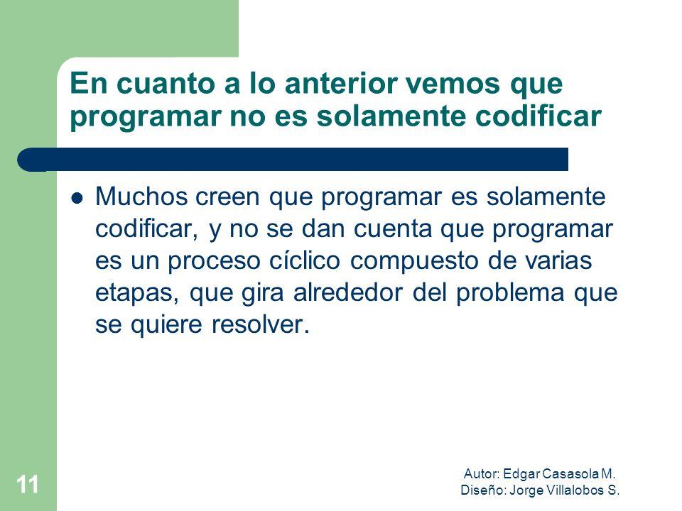 Autor: Edgar Casasola M. Diseño: Jorge Villalobos S. 11 En cuanto a lo anterior vemos que programar no es solamente codificar Muchos creen que program