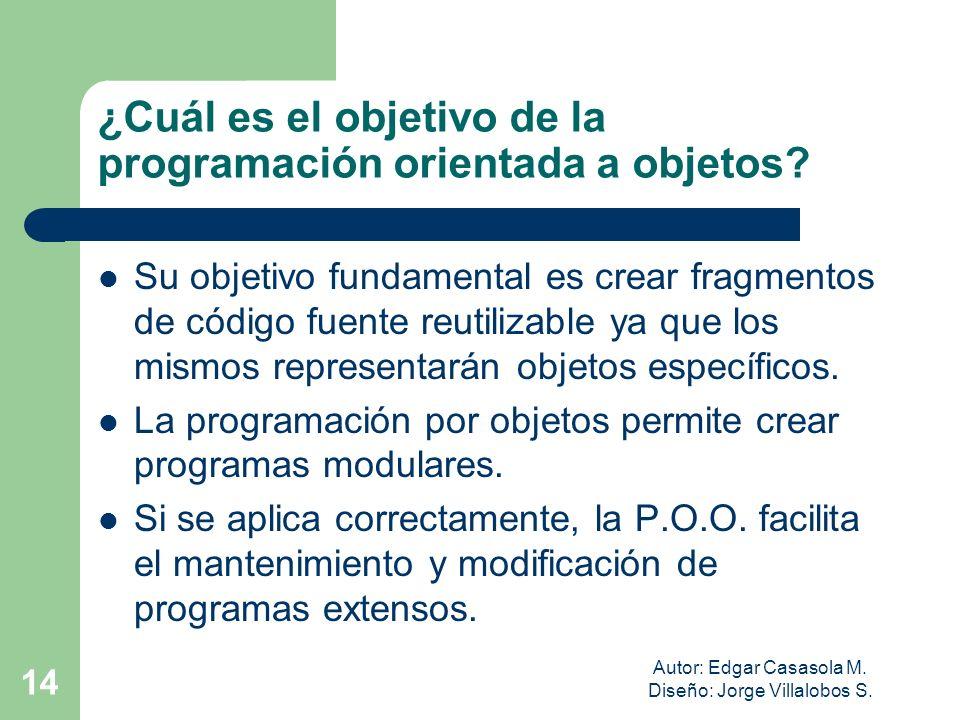 Autor: Edgar Casasola M. Diseño: Jorge Villalobos S. 14 ¿Cuál es el objetivo de la programación orientada a objetos? Su objetivo fundamental es crear
