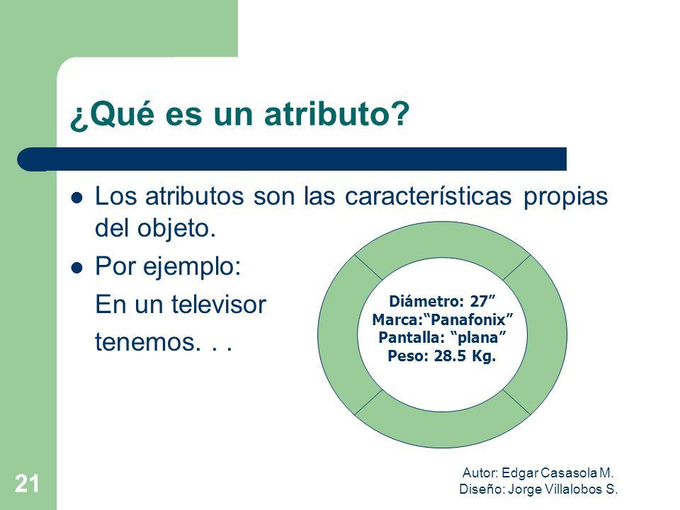 Autor: Edgar Casasola M. Diseño: Jorge Villalobos S. 21 ¿Qué es un atributo? Los atributos son las características propias del objeto. Por ejemplo: En