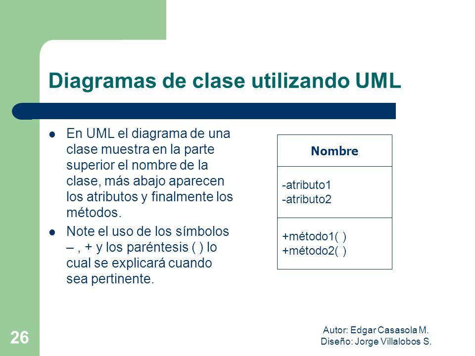 Autor: Edgar Casasola M. Diseño: Jorge Villalobos S. 26 Diagramas de clase utilizando UML En UML el diagrama de una clase muestra en la parte superior