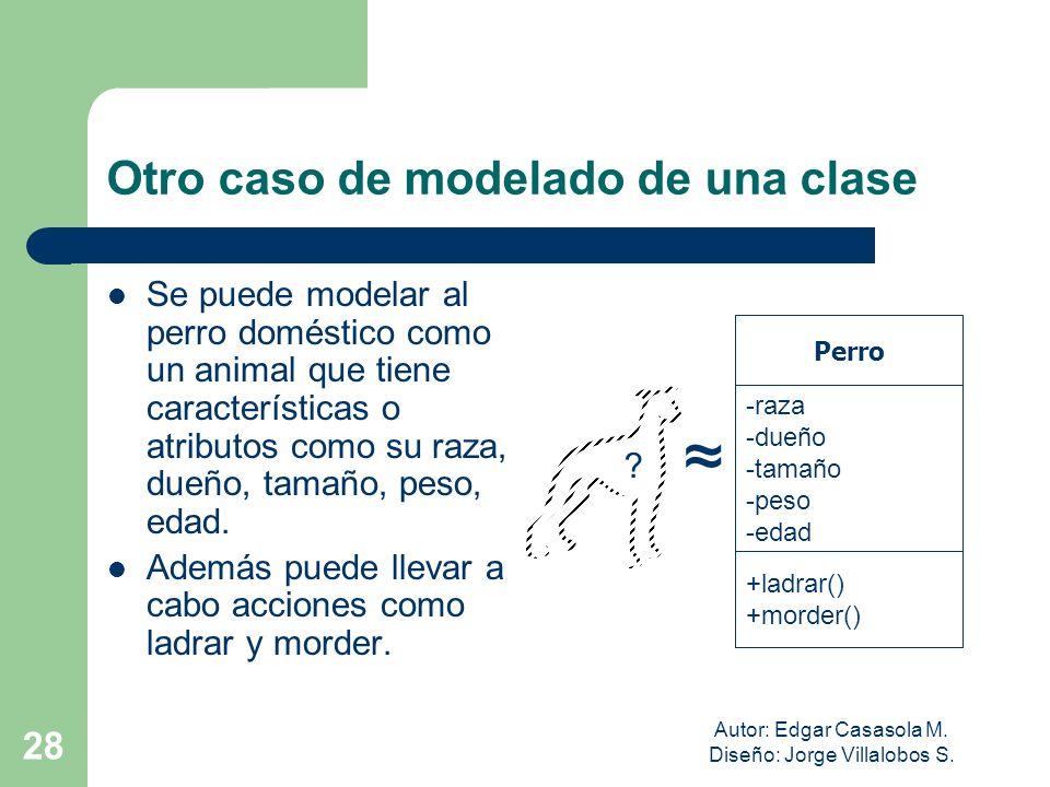 Autor: Edgar Casasola M. Diseño: Jorge Villalobos S. 28 Otro caso de modelado de una clase Se puede modelar al perro doméstico como un animal que tien