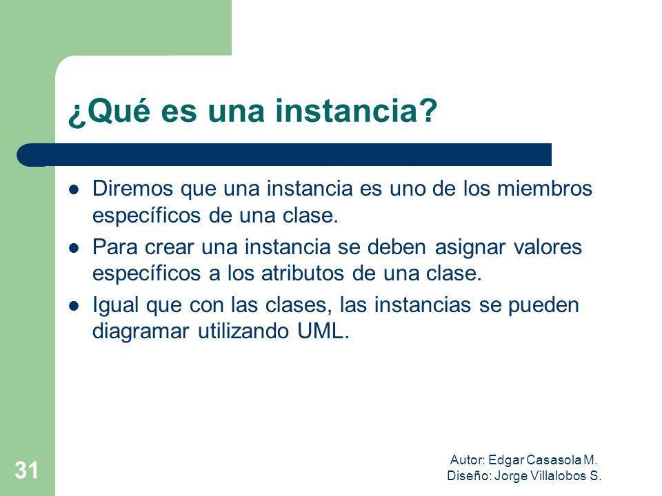 Autor: Edgar Casasola M. Diseño: Jorge Villalobos S. 31 ¿Qué es una instancia? Diremos que una instancia es uno de los miembros específicos de una cla