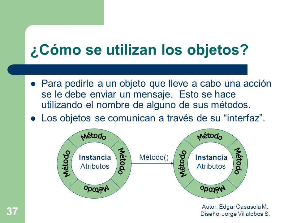 Autor: Edgar Casasola M. Diseño: Jorge Villalobos S. 37 ¿Cómo se utilizan los objetos? Para pedirle a un objeto que lleve a cabo una acción se le debe