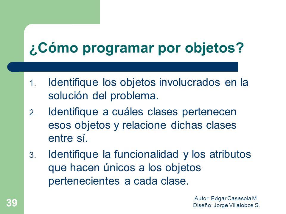 Autor: Edgar Casasola M. Diseño: Jorge Villalobos S. 39 ¿Cómo programar por objetos? 1. Identifique los objetos involucrados en la solución del proble