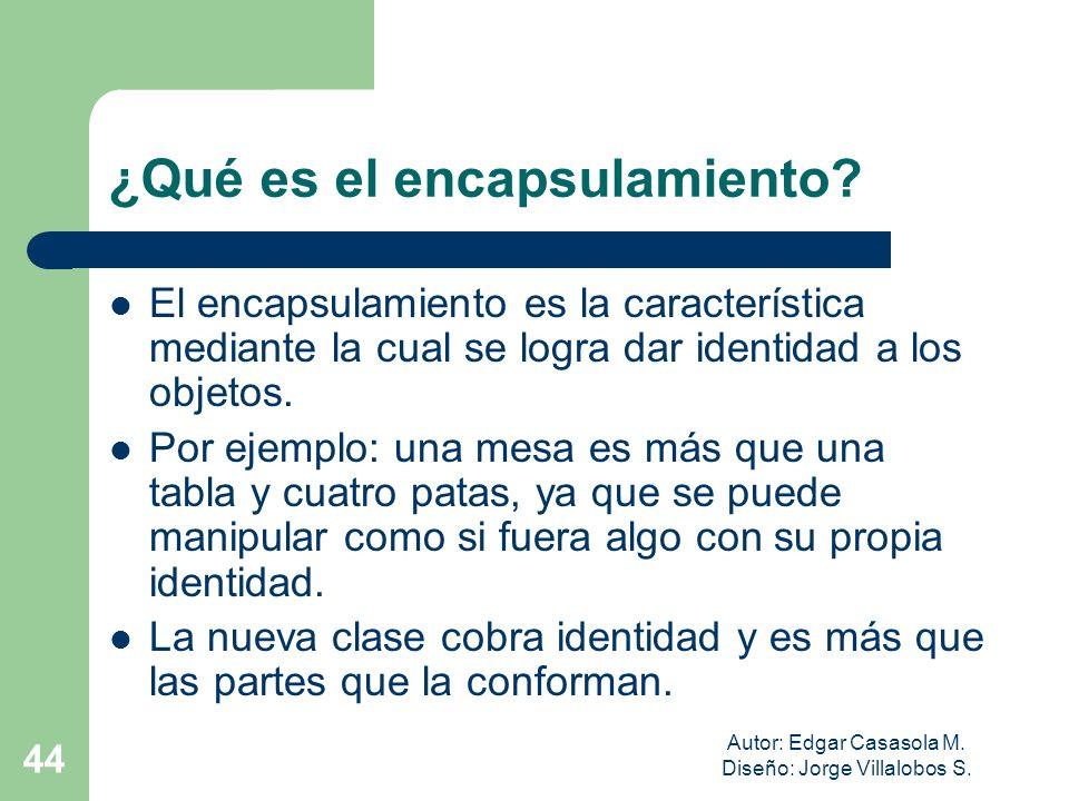 Autor: Edgar Casasola M. Diseño: Jorge Villalobos S. 44 ¿Qué es el encapsulamiento? El encapsulamiento es la característica mediante la cual se logra