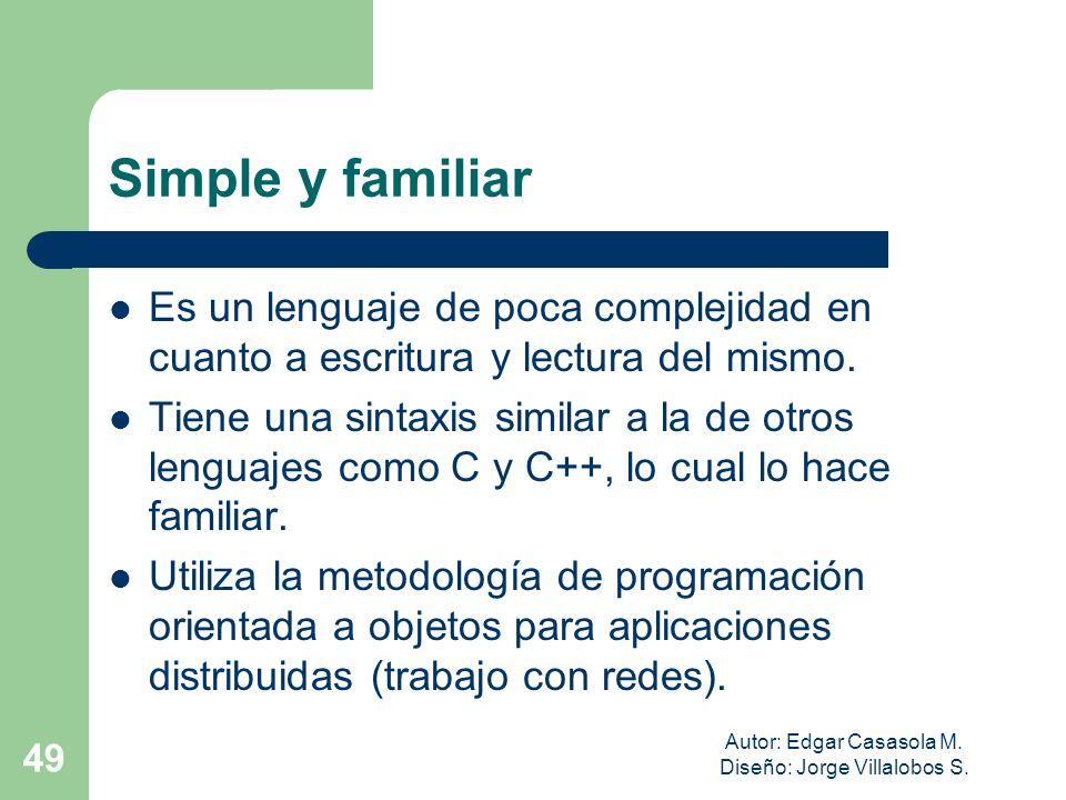 Autor: Edgar Casasola M. Diseño: Jorge Villalobos S. 49 Simple y familiar Es un lenguaje de poca complejidad en cuanto a escritura y lectura del mismo