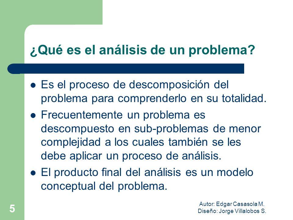 Autor: Edgar Casasola M. Diseño: Jorge Villalobos S. 5 ¿Qué es el análisis de un problema? Es el proceso de descomposición del problema para comprende