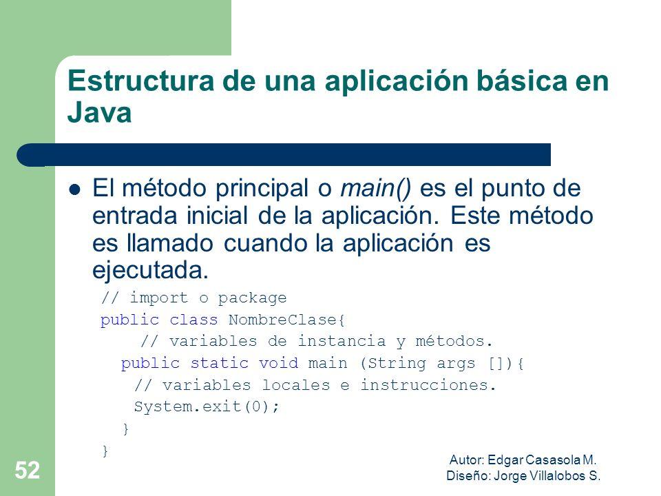 Autor: Edgar Casasola M. Diseño: Jorge Villalobos S. 52 Estructura de una aplicación básica en Java El método principal o main() es el punto de entrad