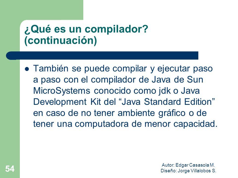 Autor: Edgar Casasola M. Diseño: Jorge Villalobos S. 54 ¿Qué es un compilador? (continuación) También se puede compilar y ejecutar paso a paso con el