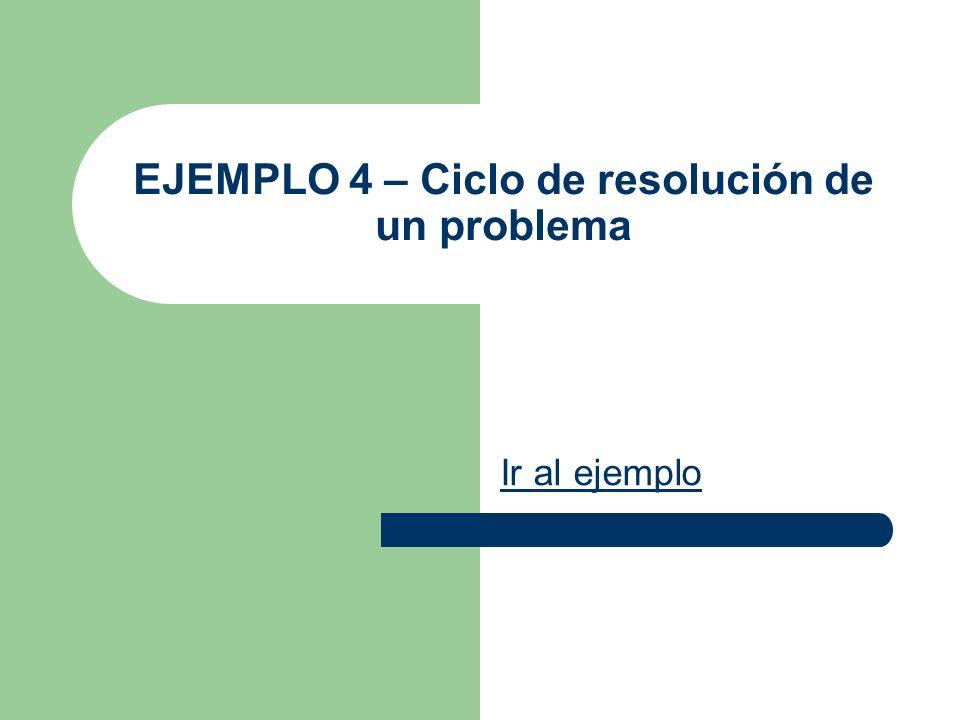 EJEMPLO 4 – Ciclo de resolución de un problema Ir al ejemplo