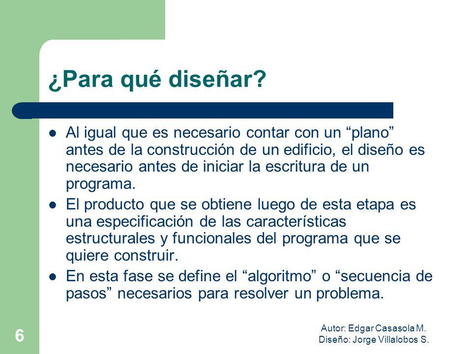 Autor: Edgar Casasola M. Diseño: Jorge Villalobos S. 6 ¿Para qué diseñar? Al igual que es necesario contar con un plano antes de la construcción de un