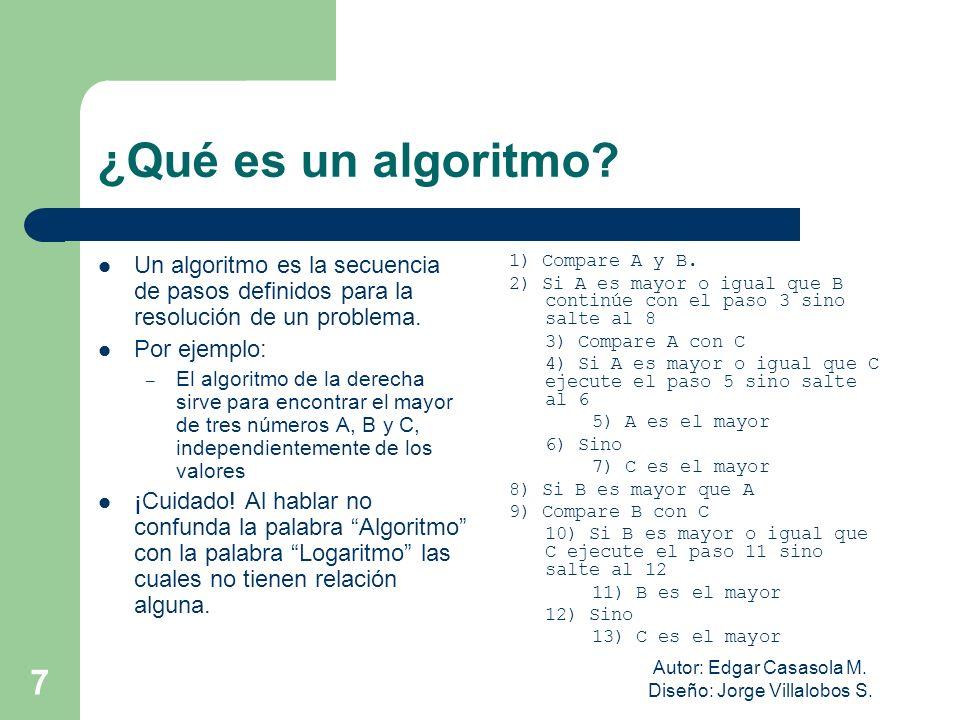 Autor: Edgar Casasola M. Diseño: Jorge Villalobos S. 7 ¿Qué es un algoritmo? Un algoritmo es la secuencia de pasos definidos para la resolución de un