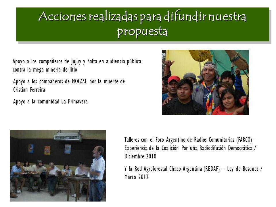 Acciones realizadas para difundir nuestra propuesta Apoyo a los compañeros de Jujuy y Salta en audiencia pública contra la mega mineria de litio Apoyo