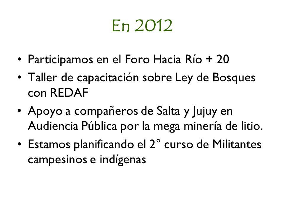 En 2012 Participamos en el Foro Hacia Río + 20 Taller de capacitación sobre Ley de Bosques con REDAF Apoyo a compañeros de Salta y Jujuy en Audiencia Pública por la mega minería de litio.