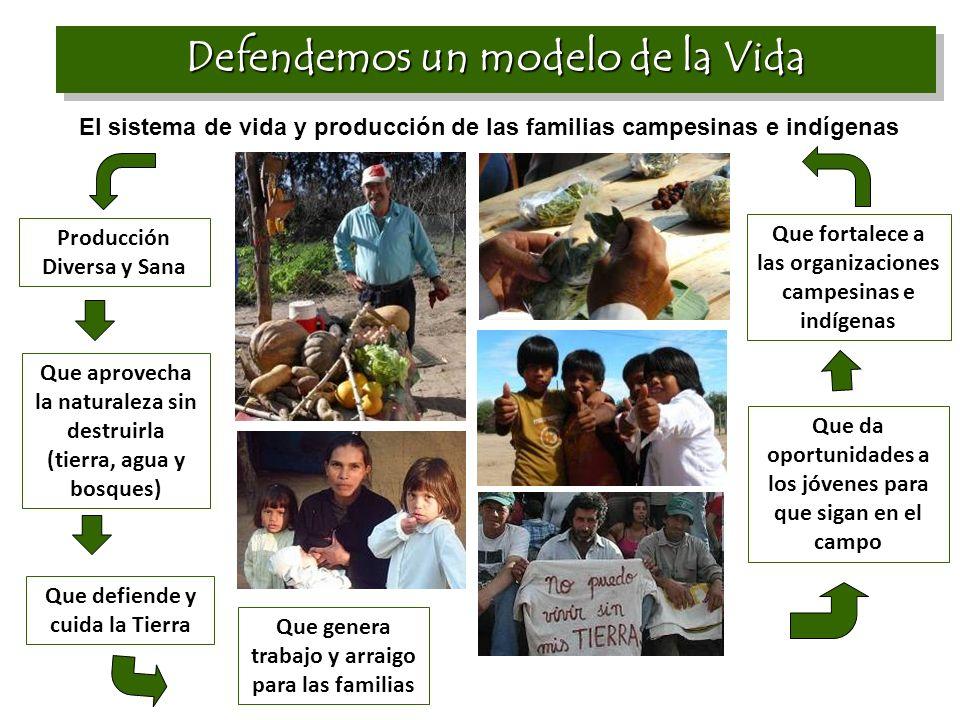 Defendemos un modelo de la Vida El sistema de vida y producción de las familias campesinas e indígenas Producción Diversa y Sana Que aprovecha la natu